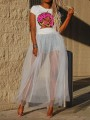 White Patchwork Grenadine Pleated Sheer Fluffy Puffy Tulle Party Skirt