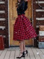Red Black Plaid Bodycon High Waisted Christmas Party Skirt