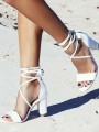 White Round Toe Chunky Cross Strap Cut Out Fashion High-Heeled Sandals