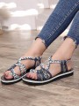 Navy Blue Round Toe Fashion Casual Flat Sandals