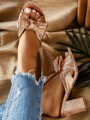 Golden Round Toe Chunky Bow Fashion High-Heeled Sandals