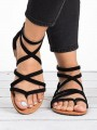 Black Round Fashion Casual Sandals