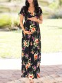 Black Floral Print Draped V-neck Elegant Maternity Maxi Dress