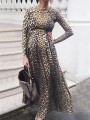 Yellow Leopard Print Round Neck Long Sleeve High Waisted Party Maternity Dress