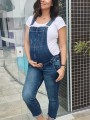 Dark Blue Pockets Overall Pants Dungarees Denim Maternity Long Jumpsuit