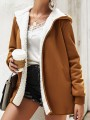 Brown Pockets Hooded Long Sleeve Oversize Fashion Teddy Coat