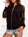Black Patchwork Lace Zipper Others Long Sleeve Fashion Outerwears