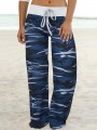 Blue Camouflage Print Drawstring Waist Long Wide Leg Palazzo Pants Lounge Bottoms