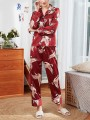 Red Floral Print 2-in-1 Turndown Collar Long Sleeve Mid-rise Fashion Loungewear Lounge Sets