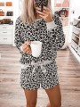 Grey Leopard Print Bow Mid-rise Short Jumpsuit Lounge Set