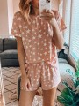 Pink Floral Stars Print Round Neck Short Sleeve Fashion Loungewear Lounge Sets