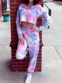 Pink-Blue Color Block Tie Dye High Waisted Hooded Two Piece Pajama Loungewear Lounge Set