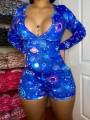 Dark Blue Solar System Print Buttons Bodycon V-neck Long Sleeve High Waisted Short Loungewear Lounge Jumpsuits