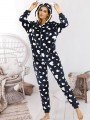 Pink Floral Zipper Print Hooded Long Sleeve Fashion Loungewear Lounge Jumpsuits