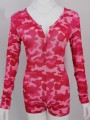 Red Camouflage Pattern Single Breasted V-neck One Piece Onesie Pajama Loungewear Lounge Jumpsuit