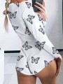 White Butterfly Print V-neck Long Sleeve Short Loungewear Lounge Jumpsuits