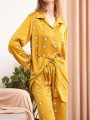 Yellow Floral Pockets Single Breasted Long Jumpsuit Pajama Set