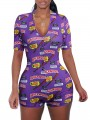 "Purple ""BACKWOODS"" Print V-neck Short Sleeve Short Romper Pajama"