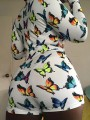 White Butterfly Print Buttons V-neck Long Sleeve Short Night Romper Pajama