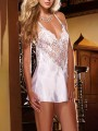 White Patchwork Lace Cross Back V-neck Sleeveless Fashion Lingerie Lingerie