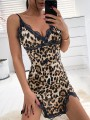 Brown Leopard Lace Print Slim V-neck Sleeveless Fashion Lingerie Lingerie