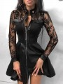 Black Patchwork Lace Zipper High Waisted Plus Size Skater Homecoming Mini Dress