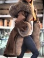 Coffee Faux Fur Bubble Plus Size Hooded Parka Padded Coat