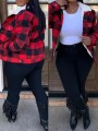 Red-Black Plaid Single Breasted Pockets Turndown Collar Casual Padded Coat