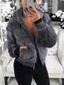 Grey Patchwork Zipper Pockets Hooded Going out Coat