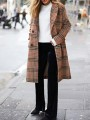 Camel Plaid Buttons Pockets Turndown Collar Going out Wool Coat