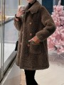 Coffee Patchwork Pockets Turndown Collar Going out Coat
