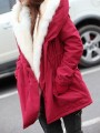 Red Patchwork Pockets Drawstring Hooded Going out Padded Coat