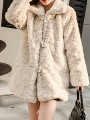 Apricot Patchwork Buttons Pockets Turndown Collar Going out Coat