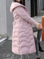 Pink Patchwork Zipper Pockets Hooded Going out Padded Coat