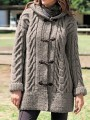 Grey Patchwork Buttons Hooded Fashion Cardigan Sweater