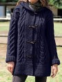 Blue Patchwork Buttons Hooded Fashion Cardigan Sweater
