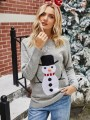Grey Floral Christmas Snowman Round Neck Fashion Sweater Pullover