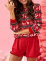 Red Striped Print Round Neck Fashion Pullover Sweater