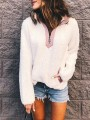 White-Pink Pockets Band Collar Teddy Lambswool Pullover Sweatshirt