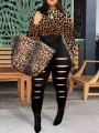 Brown Patchwork Leopard Print Cut Out Ripped Distressed One Piece Clubwear Long Jumpsuit