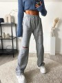 Grey Patchwork Drawstring High Waisted Going out Pants