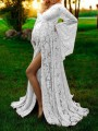 White Floral Lace Deep V-neck Flare Sleeve Floor Length Maternity Dress