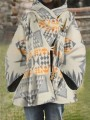 White Mosaic Pockets Buttons Comfy Round Neck Loose Outerwear