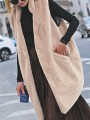 Apricot Patchwork Buttons Pockets Comfy Turndown Collar Outdoors Outerwear