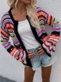 Black Colorful Buttons Cut Out Trendy V-neck Loose Cardigan