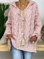Pink Patchwork Ruffle Comfy V-neck Loose Pullover Sweater