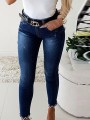 Blue Patchwork Pearl Bow bodycon Mid-rise Skinny Jeans